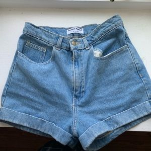 High waisted American Apparel denim shorts